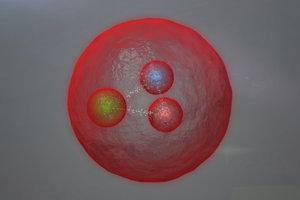 Umelecká koncepcia novej subatómovej častice, ktorú poskytol CERN.