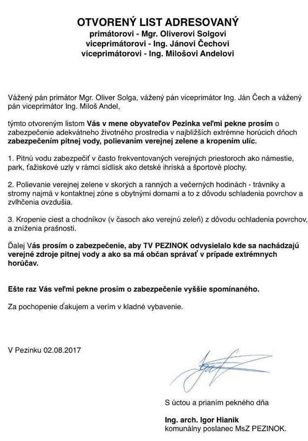 Otvorený list poslanca Igora Hianíka vedeniu mesta.