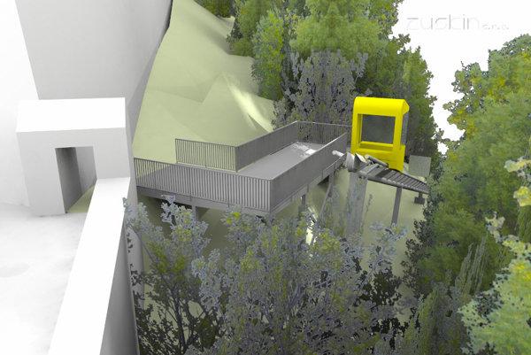 Minilanovka by viedla cez lesopark. Vľavo je nakreslaná bránička, ktorá vedie z priestranstva pod hradbami do lesoparku.