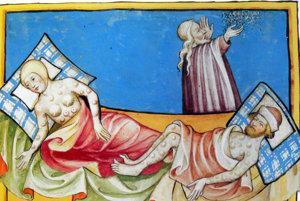 Historická maľba v Toggenburg Bible z roku 1411. Zobrazuje pacientov s kiahňami, verilo sa, že ide o mor.