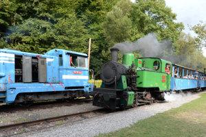 Na snímke vpravo parný rušeň Krutwig s vozňami prichádza na stanicu Alpinka, vľavo motorová lokomotíva Danka