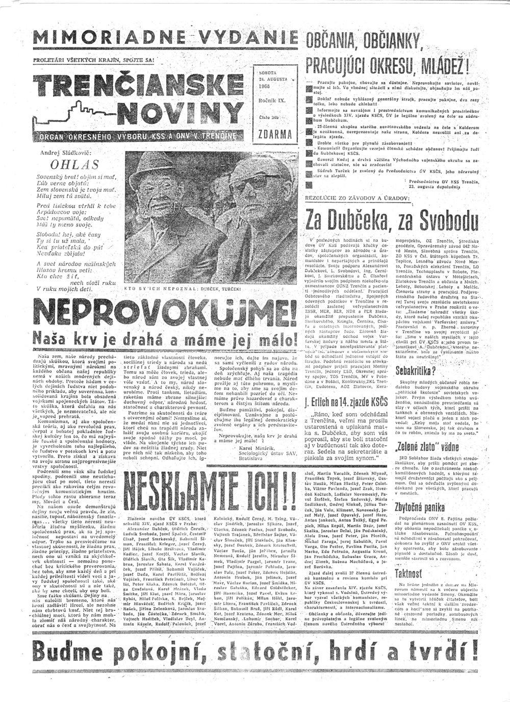 Mimoriadne vydanie Trenčianskych novín z augusta 1968.