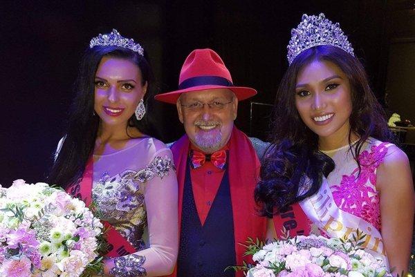 1. Vicemiss Júlia (vľavo) s J. Oklamčákom a víťazkou z Filipín.
