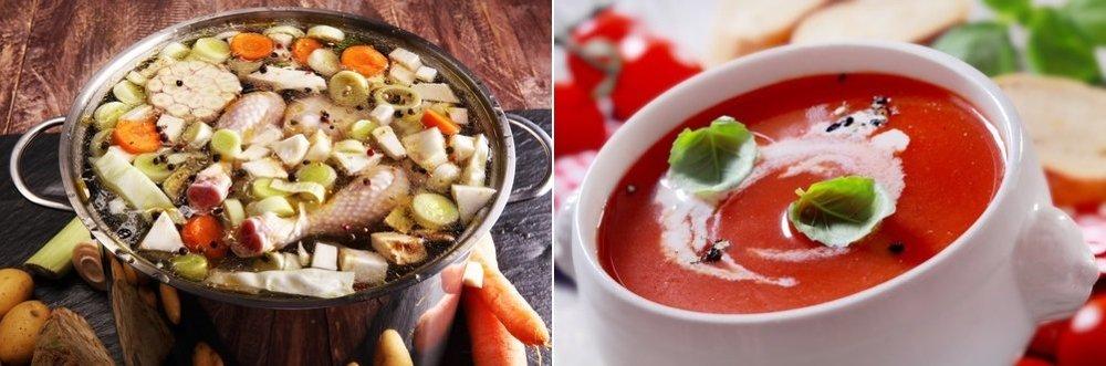Kuracia polievka so zeleninou a paradajková polievka, ináč nazývaná aj rajská.