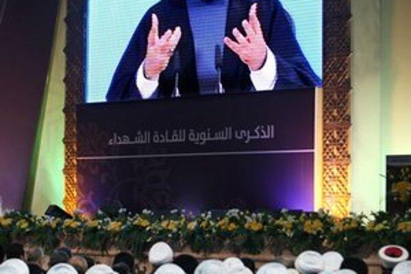 Hasan Nasralláh počas príhovoru v Dahiyehu.