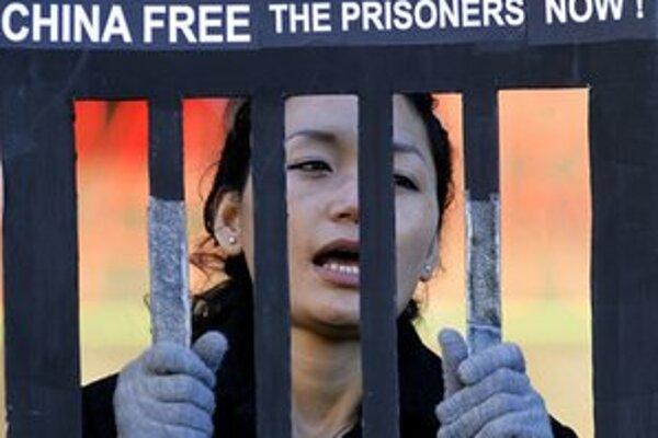 Protest aktivistov počas návštevy čínskeho premiéra v Los Angeles.