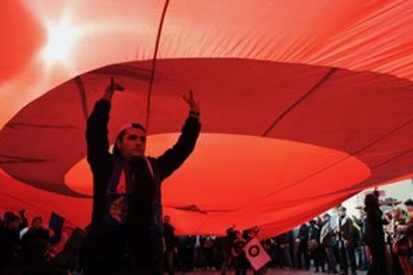 Na demonštrácii v Istanbule.