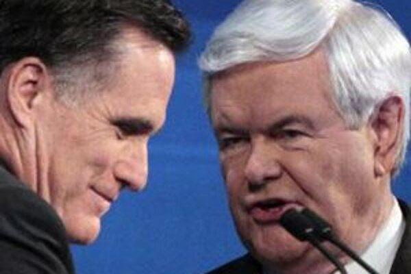 Mitt Romney a Newt Gingrich sú dvaja hlavní súperi na kandidatúru republikánov.