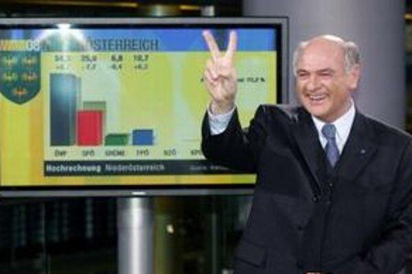 Erwin Pröll oslavuje v roku 2008 víťazstvo ľudovcov v parlamentných voľbách v Dolnom  Rakúsku.