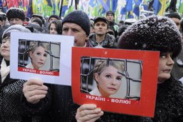 Priaznivci Tymošenkovej na demonštrácii v Kyjeve.