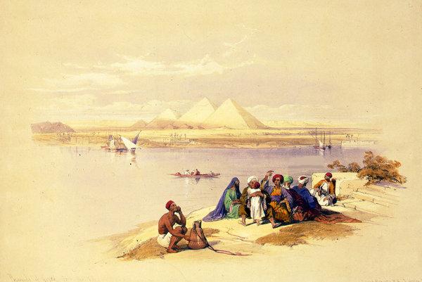 Pohľad z rieky Níl na pyramídy v Gize. Litografia.