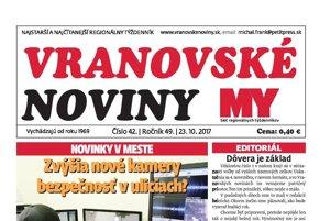 Titulná strana Vranovských novín č. 42/2017.