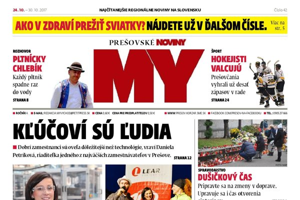 Titulná strana týždenníka MY Prešovské noviny č. 42/2017.