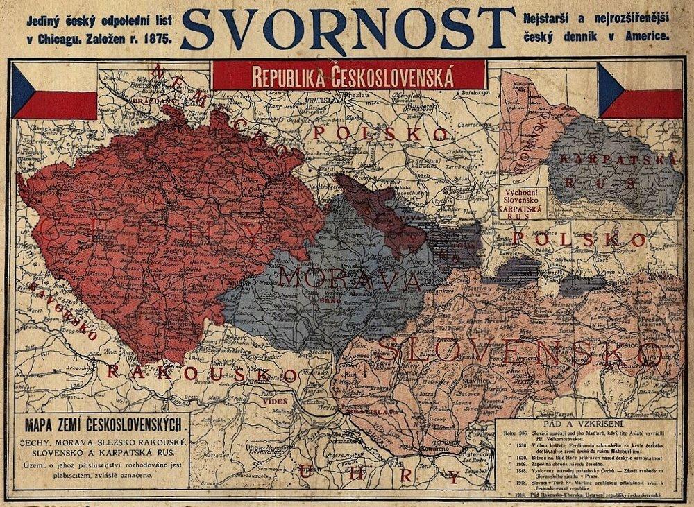 Mapa zemí Československých z roku 1919, ktorá vyšla v českých emigrantských novinách v  Chicagu.