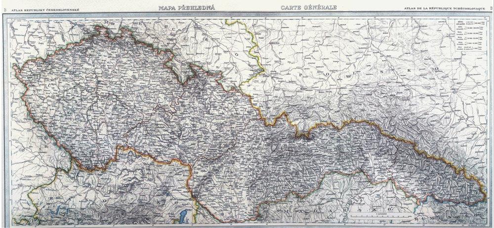 Mapa Československa z roku 1935.