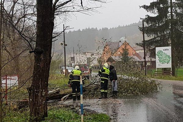 Hasiči v Korni likvidovali popadané stromy. Jeden z nich spadol na auto.