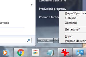 Počítač s Windows 7 uspíte alebo prepnete do režimu hibernácie cez položku Štart, kde kliknete na malú šípku vpravo.
