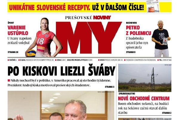 Titulná strana týždenníka MY Prešovské noviny č. 45/2017.