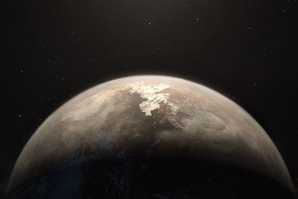 Umelecké zobrazenie planéty Ross 128 b obiehajúcej okolo materskej hviezdy.