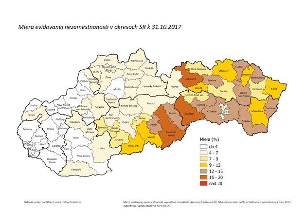 Miera evidovanej nezamestnanosti v októbri 2017.