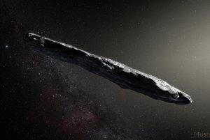 Vizualizácia medzihviezdneho asteroidu 1I/2017 U1 'Oumuamua.