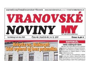 Titulná strana týždenníka Vranovské noviny č. 48/2017.