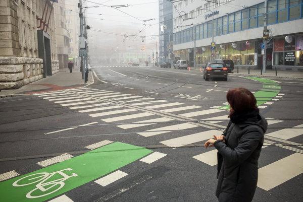 Novovyznačená cyklotrasa okolo historického centra Bratislavy.