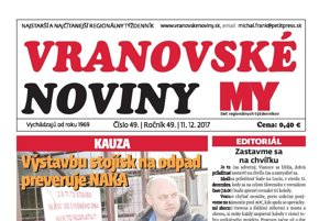 Titulná strana týždenníka Vranovské noviny č. 49/2017.