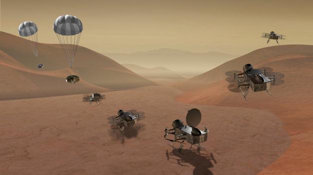 Umelecké zobrazenie misie Dragonfly na najväčší Saturnov mesiac Titan. Duálna kvadrokoptéra by sa mala presúvať z miesta na miesto aj na veľké vzdialenosti.