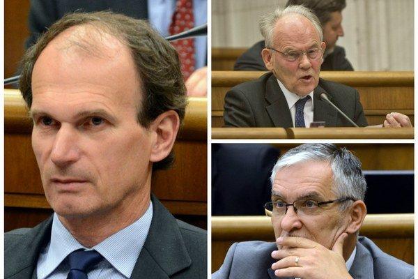 Predkladatelia Štefan Kuffa (vľavo), Marián Kvasnička (vrpavo dole) aJozef Mikloško (vpravo hore). Niektorí kresťanskí kolegovia ich podporili, tvrdia, že návrh chceli potom meniť.