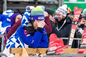 Petra Vlhová v cieli druhého kola nedeľňajšieho slalomu v Kranjskej Gore.