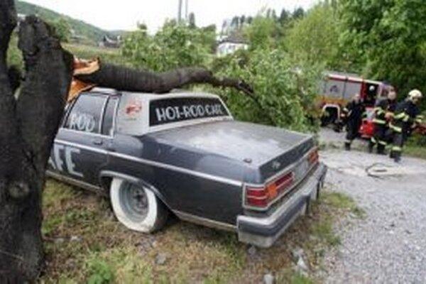 Spadnuté tromy na Hronskom Predmestí v Banskej Bystrici poškodili autá.