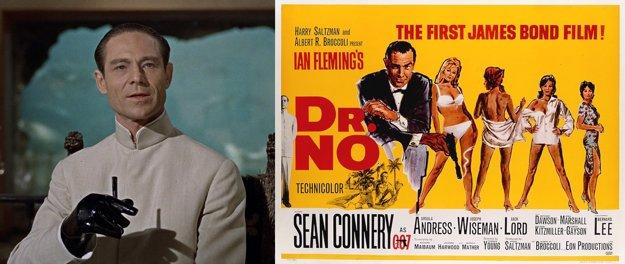 Hlavný zloduch a plagát k filmu Dr.NO. Šlo o prvú filmovú bondovku, nakrútili ju v roku 1962. Odvtedy ich vzniklo už dvadsaťšesť.