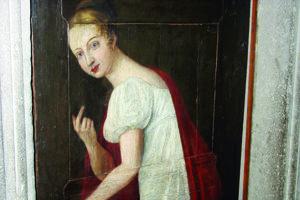 Levočská biela pani. Podľa maľby na opevnení mala vyzerať takto.