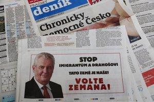 Inzeráty formálne zadáva Spolok priateľov Miloša Zemana.