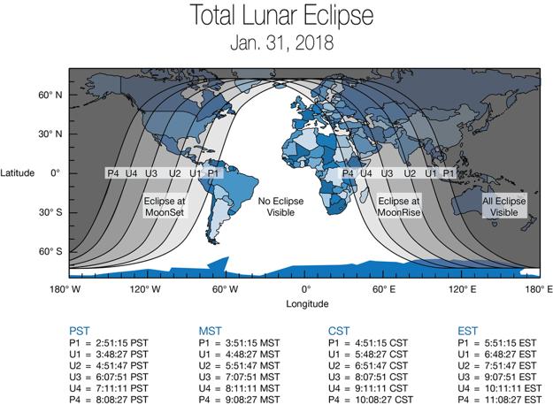 mapa území, z ktorých bude a nebude vidieť úplne zatmenie Mesiaca 31. januára 2018.