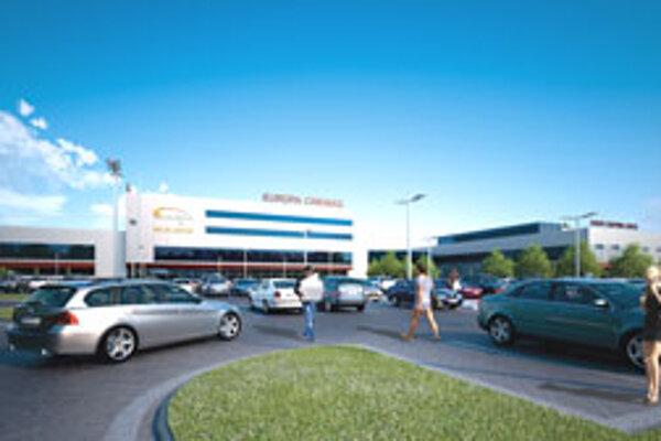 Vizualizácia budúceho centra (pohľad z parkoviska, kde je teraz ešte budova mliekarní).