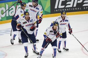 Kórejskí hokejisti na ilustračnej fotografii.