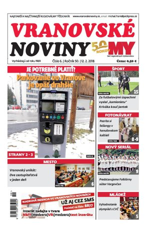 Titulná strana týždenníka Vranovské noviny č. 6/2018.