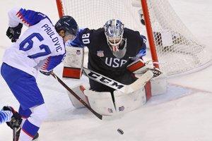 V základnej skupine hokejisti Slovenska prehrali s USA 1:2.