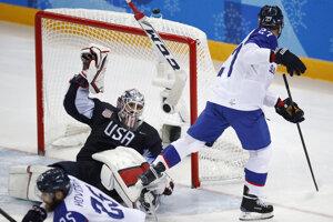 Brankár USA Ryan Zapolski (30) stráca hokejku po súboji s Ladislavom Nagyom.