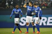 Schalke oslavuje triumf nad Herthou Berlín.