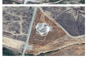 Zničenie kláštora ukazujú satelitné zábery.