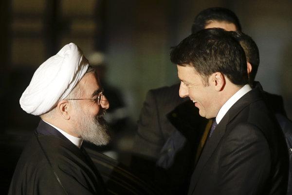 Taliansky premiér privítal iránskeho prezidenta.
