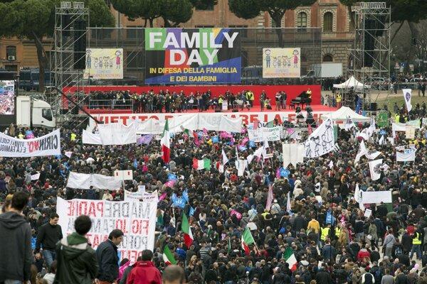Protest proti zväzkom ľudí rovnakého pohlavia v Ríme.