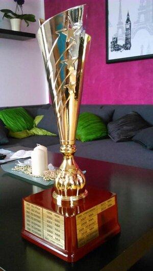 Putovná trofej pre víťaza.
