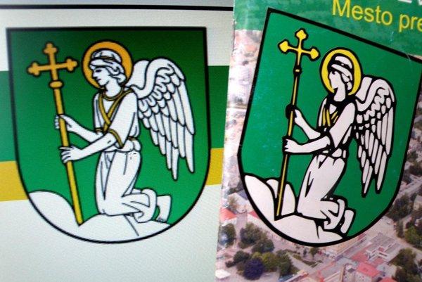 Nájdete rozdiely? Vľavo je vyobrazenie erbu Prievidze z roku 2005, vpravo kresba zo skorších rokov.