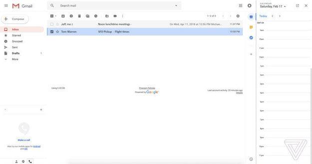 Nový vzhľad Gmailu, ktorý by mal prísť v roku 2018.