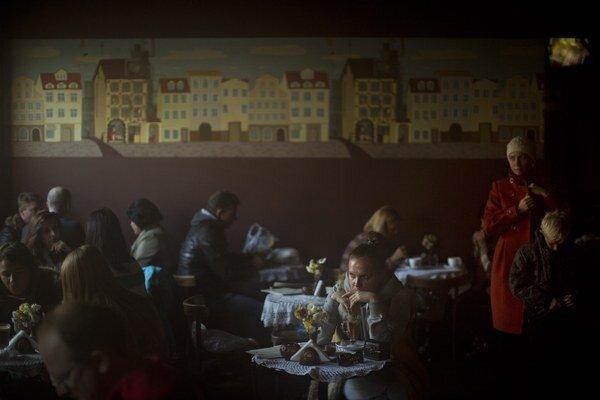 Kaviareň v centre Kyjeva.