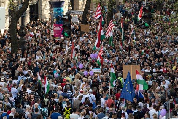 Minulotýždňové protesty v Budapešti.